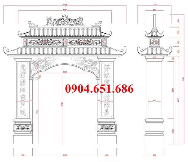 Kích thước cổng nhà thờ họ thiết kế chuẩn phong thủy