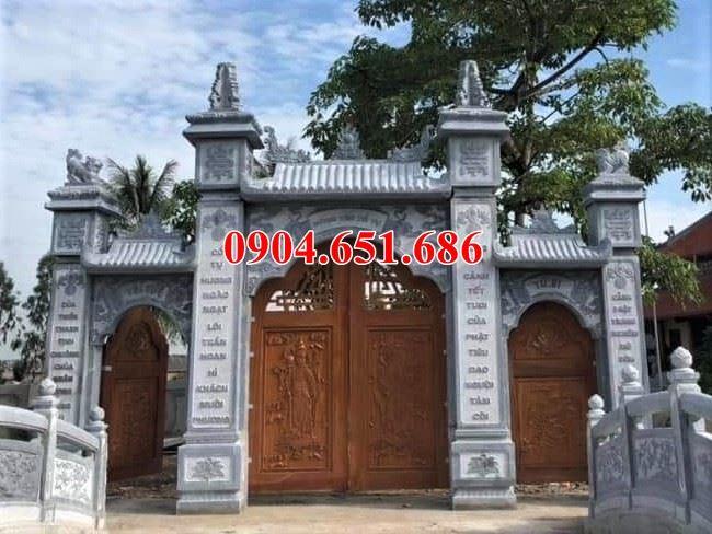 Mẫu cổng đình chùa bằng đá khối tự nhiên đẹp