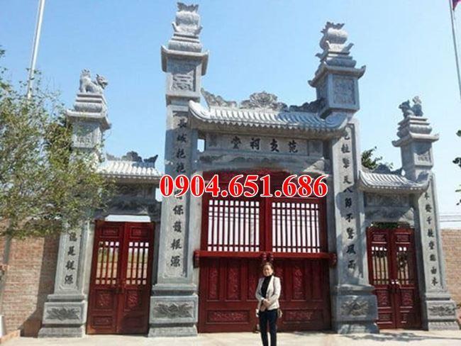 Mẫu cổng nhà từ đường xây bằng đá khối đẹp