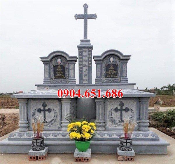 Mẫu mộ đá đôi công giáo đẹp