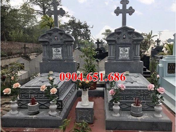 Mẫu mộ công giáo đôi bằng đá xanh thanh hóa bán và lắp đặt tại các tỉnh miền bắc