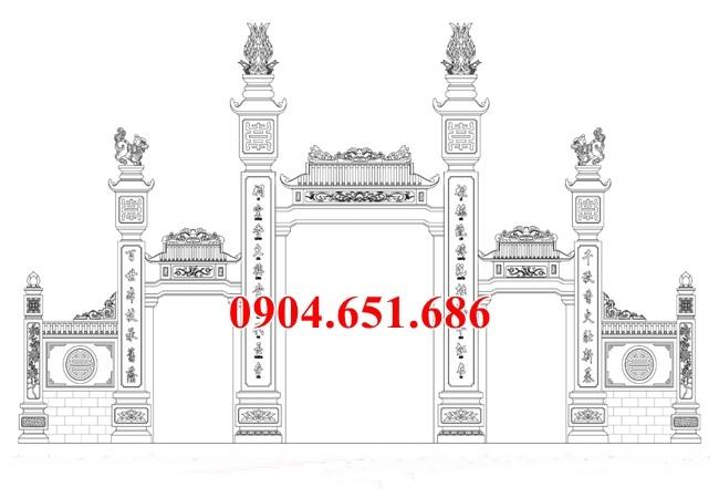 Mẫu thiết kế cổng đình, chùa, nhà từ đương, nhà thờ tổ đẹp hợp phong thủy