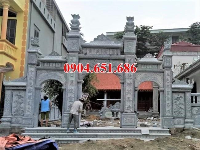 Thiết kế làm cổng nhà thờ họ, nhà từ đương, nhà thờ tổ, đình, chùa bằng đá khối tự nhiên đẹp