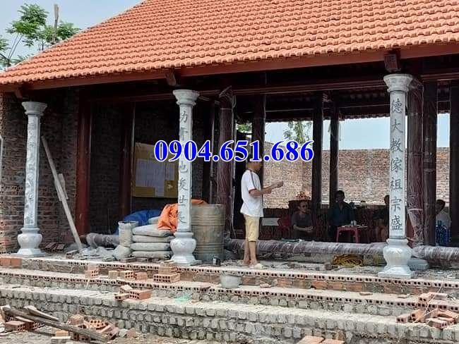 Cột hiên nhà gỗ hình tròn bằng đá xanh đẹp