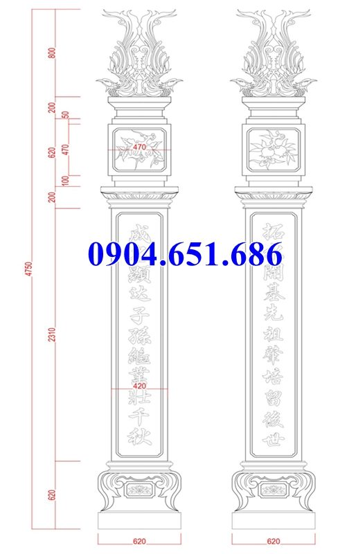 Kích thước cột đồng trụ đá nhà thờ họ, nhà từ đường, nhà thờ tổ