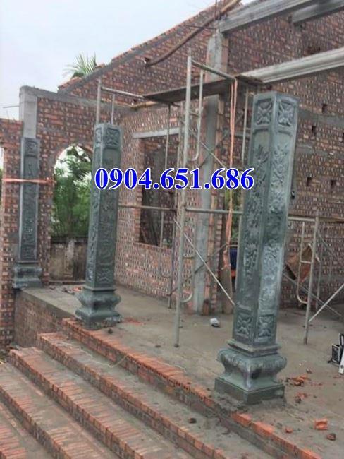 Mẫu cột hiên, cột đồng trụ bằng đá xanh rêu