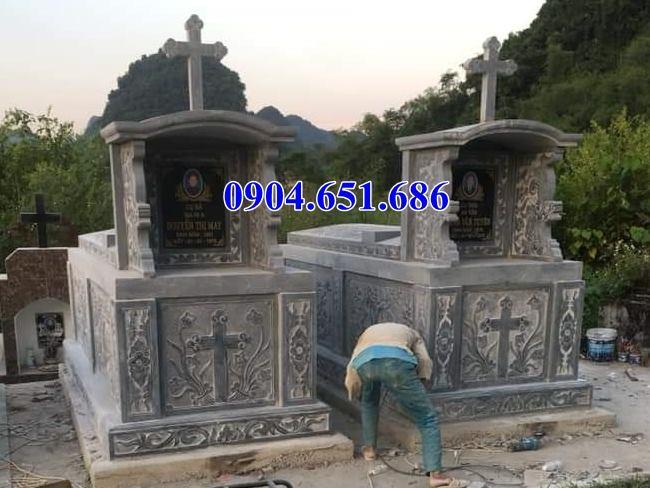 Mẫu mộ đá đôi đạo công giáo xây hợp phong thủy