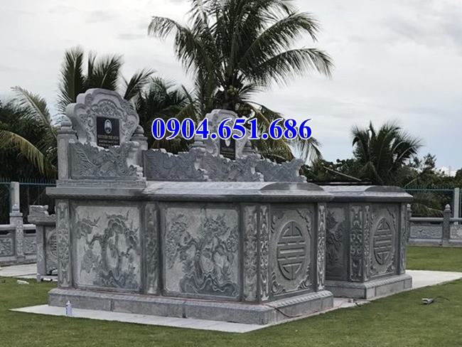 Mẫu mộ đá đôi không mái đẹp nhất thiết kế hiện đại
