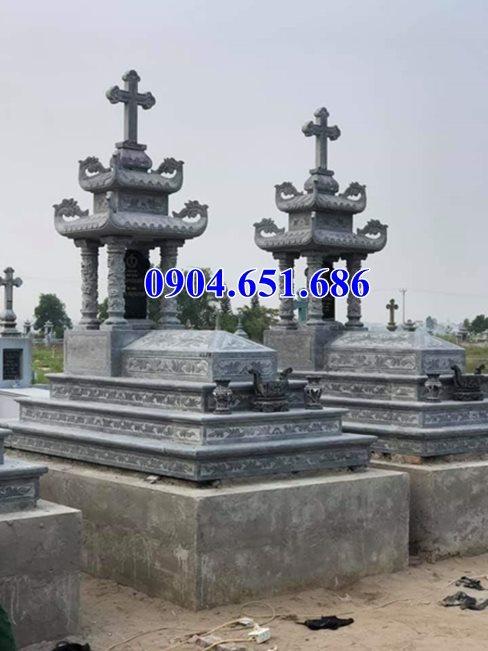 Mẫu mộ đôi đá đạo công giáo kích thước hợp phong thủy