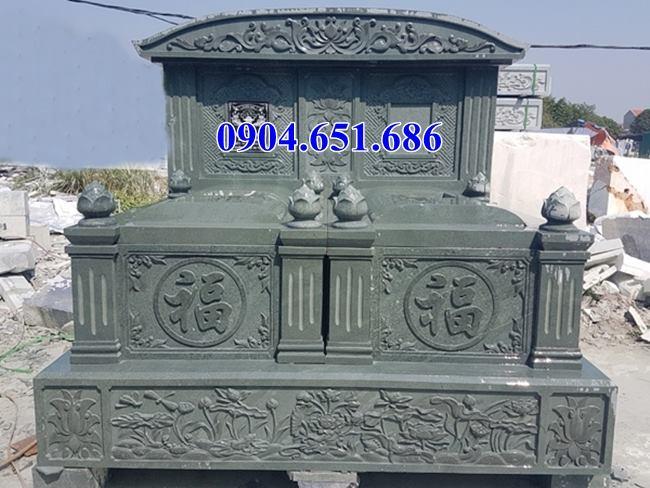 Mẫu mộ đôi đá xanh rêu đẹp hiện nay