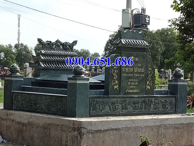Mẫu mộ đôi đá xanh rêu thiết kế hiện đại đẹp