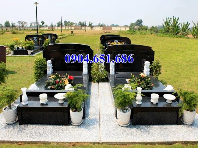 Mẫu mộ đôi chế tác từ đá hoa cương granite tự nhiên nguyên khối