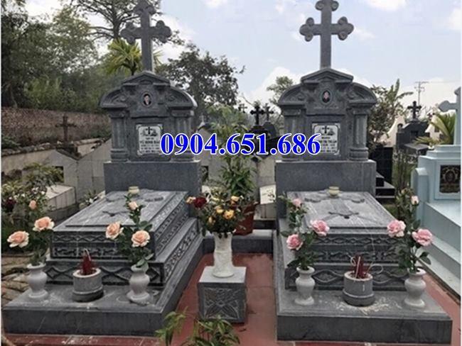 Mẫu mộ đạo đôi đá xanh rêu đẹp hiện đại