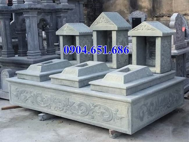 Mẫu mộ hai, ba ngôi liền kề đá xanh rêu đẹp