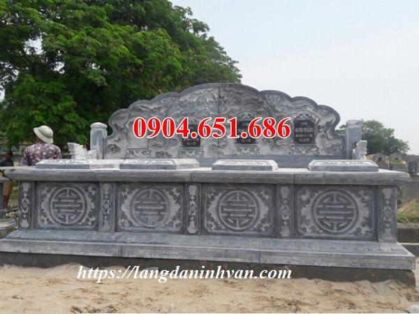 Mẫu mộ hai ba ngôi liền kề xây bằng đá khối tự nhiên đẹp