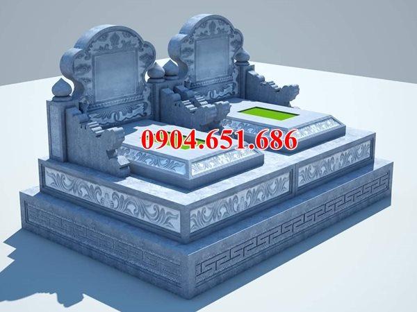 Mẫu mộ tam cấp thiết kế xây bằng đá khối tự nhiên kích thước chuẩn phong thủy