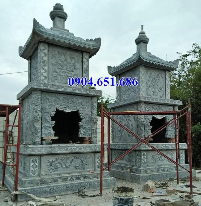 Mẫu mộ tháp đôi phật giáo đá đẹp