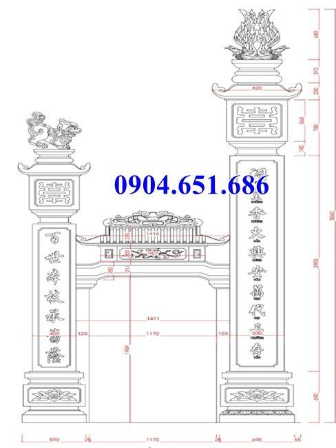 Mẫu thiết kế kích thước cột cổng đá đẹp hợp phong thủy
