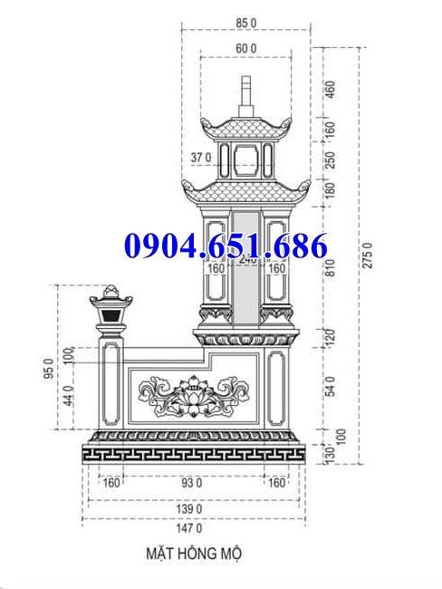 Mẫu thiết kế mộ đôi hai mái( Mộ đôi hai đao)