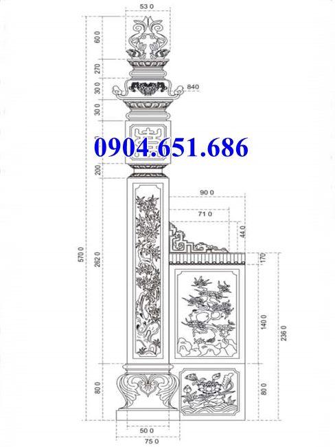 Thiết kế kích thước mẫu cột đồng trụ nhà thờ họ chuẩn phong thủy