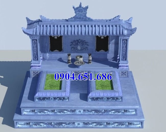 Thiết kế mẫu mộ đôi một mái đẹp hiên đại