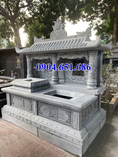 Thiết kế mẫu mộ đôi một mái bằng đá để chờ hài cốt