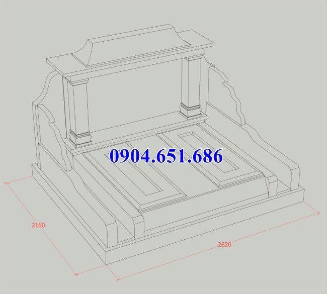 Thiết kế mộ đôi kích thước chuẩn phong thủy