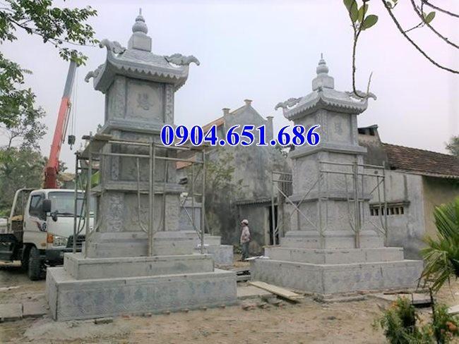 Xây mẫu mộ tháp đôi để tro cốt bằng đá khối tự nhiên đẹp