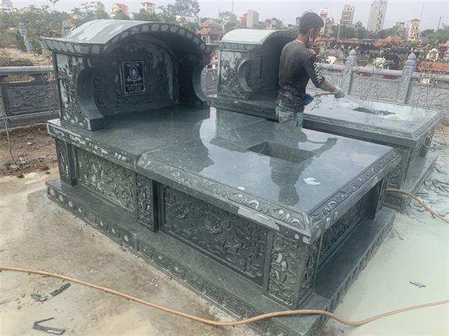 Xây mộ đôi đá xanh rêu để tro cốt bán và lắp đặt toàn quốc