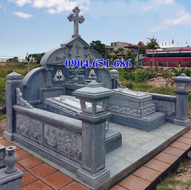 Xây mộ đôi công giáo, mộ đôi đạo bằng đá khối tự nhiên đẹp
