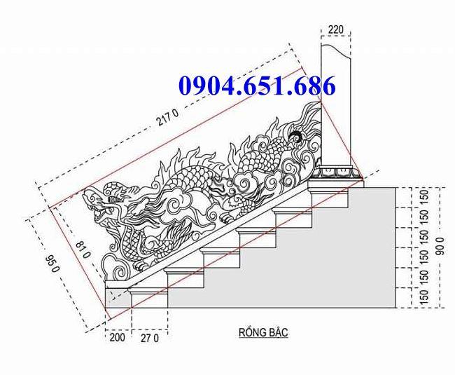 Bản vẽ thiết kế rồng đá bậc đình chùa chuẩn phong thủy