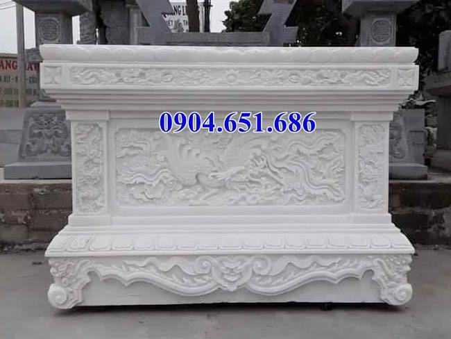 Mẫu bàn thờ bằng đá trắng kích thước chuẩn phong thủy