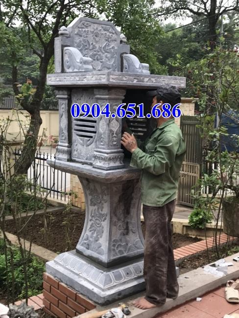Mẫu bàn thờ thiên đá xanh đẹp kích thước chuẩn phong thủy