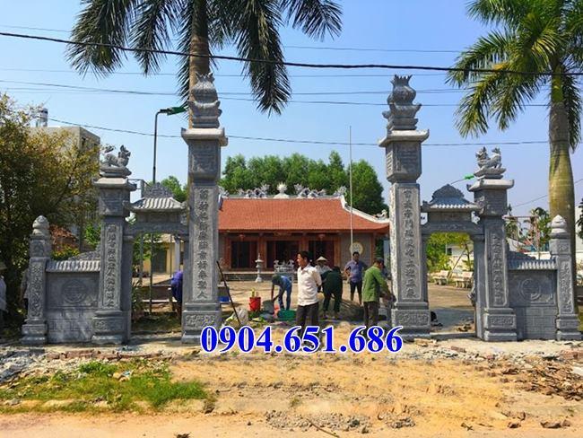 Mẫu cổng đình, cổng chùa, cổng nhà thờ tộc cổng nhà từ đường bằng đá thiết kế đơn giản đẹp