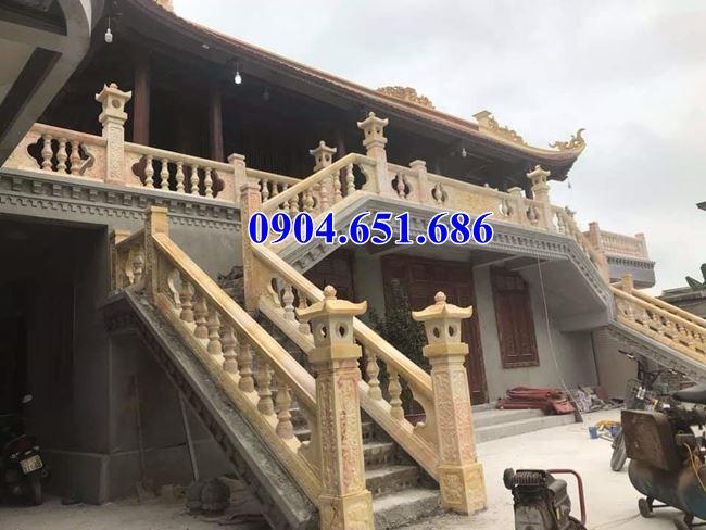 Mẫu lan can cầu thang bằng đá đẹp nhà thờ họ, đình chùa, nhà từ đường...