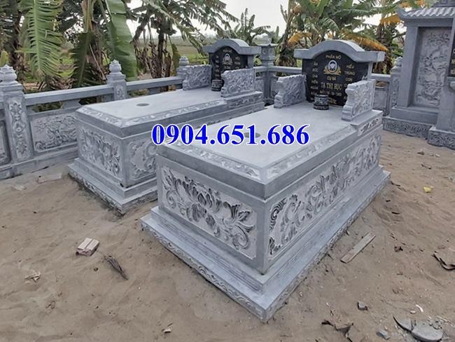 Mẫu mộ đôi đẹp không mái thiết kế xây để hài cốt bằng đá khối tưn nhiên