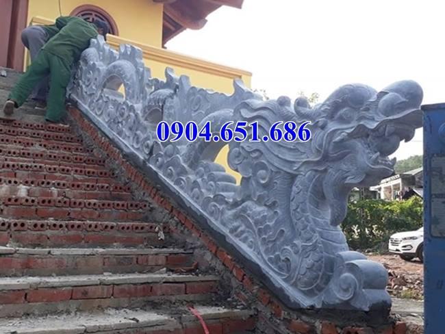 Mẫu rồng bậc tam cấp đá nhà thờ họ, nhà thờ tộc, đình chùa