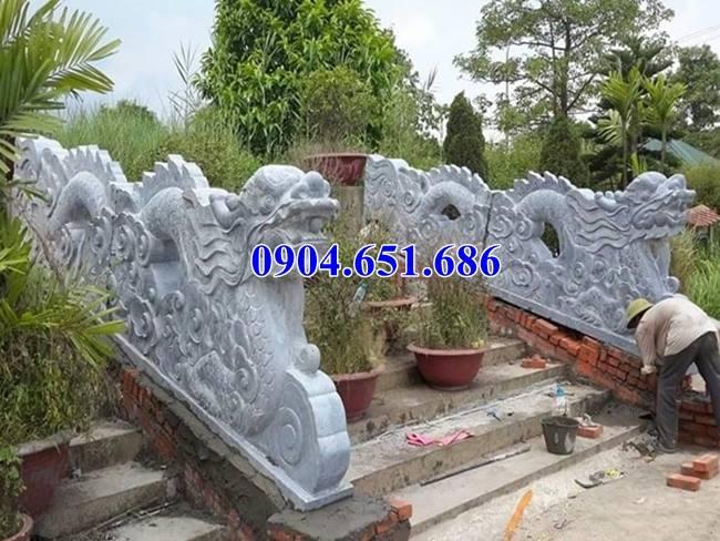 Mẫu rồng bậc tam cấp lăng mộ thiết kế, chế tác tự đá xanh Thanh Hóa
