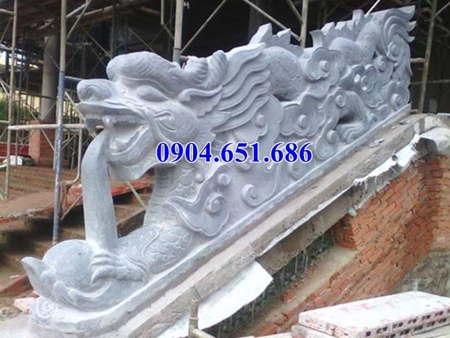 Mẫu rồng bậc thềm đá đình chùa hoa văn tinh xảo