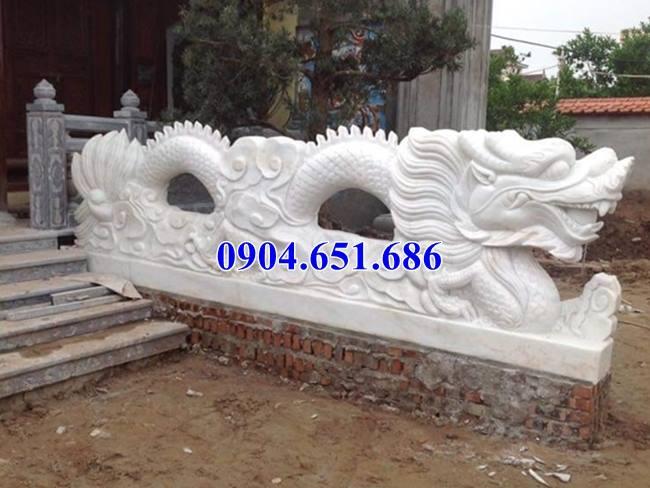 Rồng bậc tam cấp đình chùa, nhà thờ tộc thiết kế bằng đá trắng