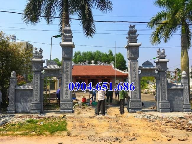 Mẫu cổng tam quan nhà thờ họ xây bằng đá khối tự nhiên đẹp