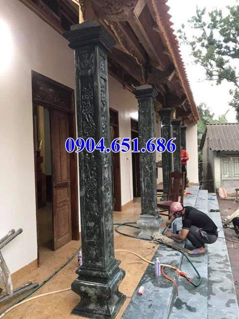 Mẫu cột hiên nhà thờ họ, đình chùa, nhà từ đường bằng đá xanh rêu bán tại Nghệ An