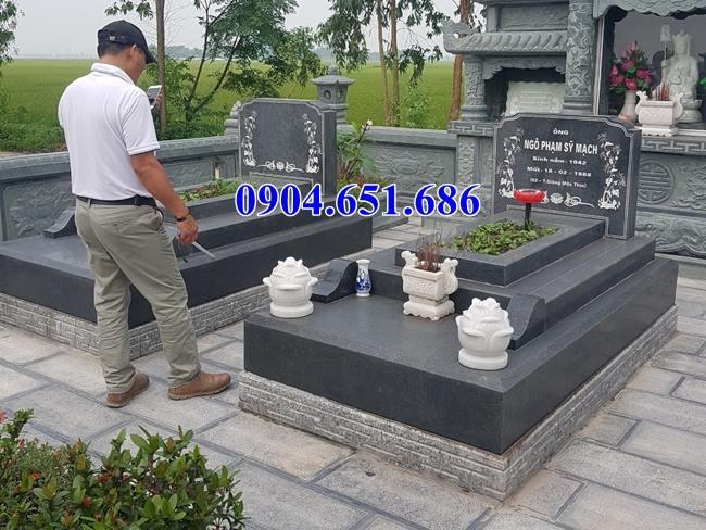 Mẫu mộ đôi đá hoa cương granite đơn giản đẹp