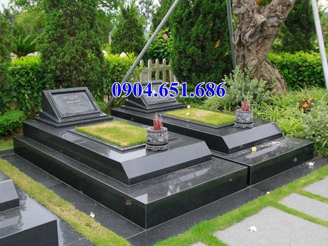 Mẫu mộ đôi đá hoa cương granite nguyên khối đơn giản đẹp