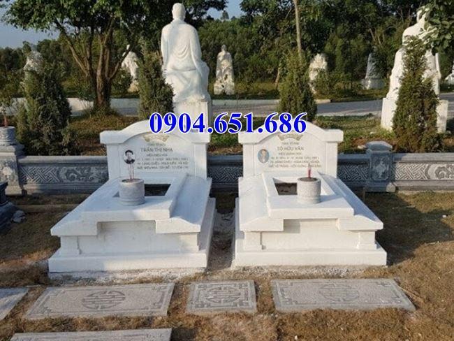 Mẫu mộ đôi đá trắng non nước đẹp