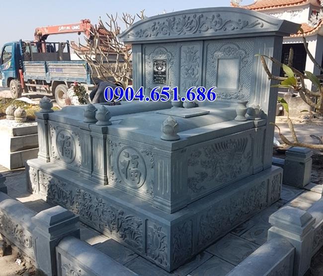 Mẫu mộ đôi đá xanh rêu cao cấp đẹp