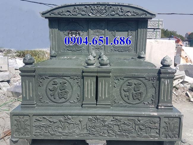 Mẫu mộ đôi đá xanh rêu cao cấp thiết kế đẹp