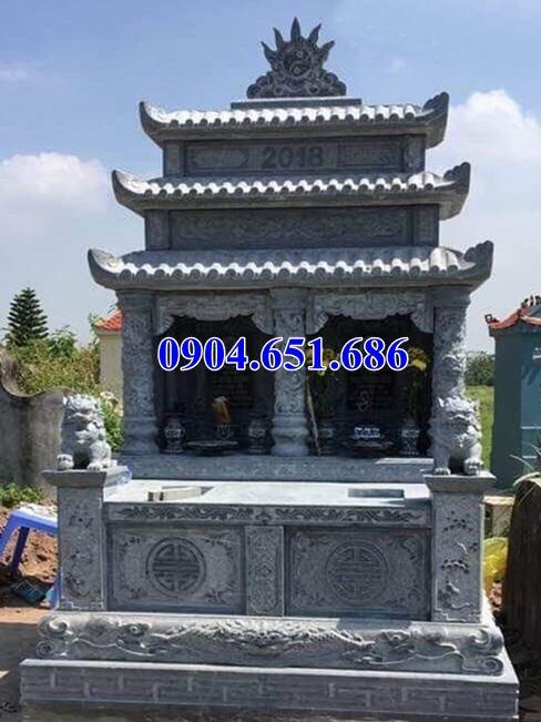 Mẫu mộ đôi ba mái thiết kế chuẩn phong thủy