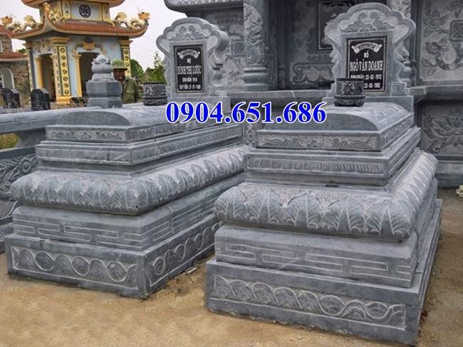 Mẫu mộ bành đôi, mộ tam sơn đôi đá khối tự nhiên đơn giản đẹp