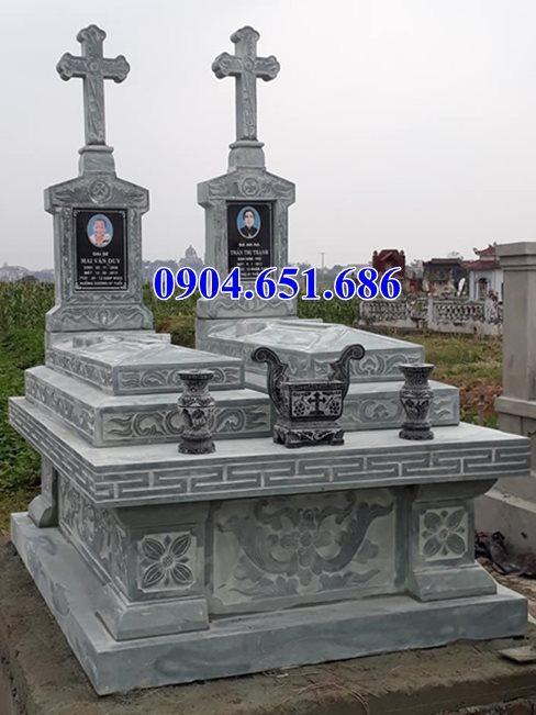 Thiết kế xây mộ đôi công giáo đá xanh tự nhiên đẹp